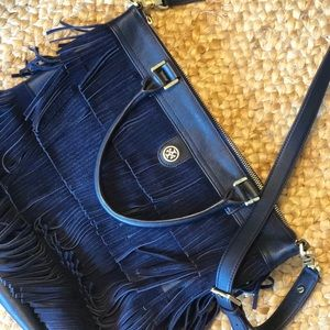 Tory Burch Navy Suede Fringe Tote